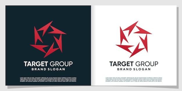 Résumé du logo du groupe cible avec le concept de flèche vecteur premium