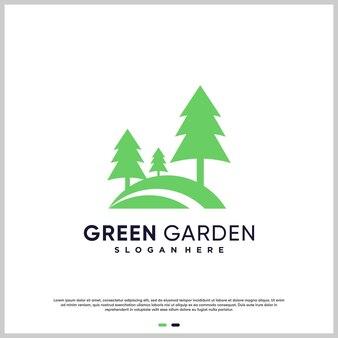 Résumé du logo du jardin avec un style moderne vecteur premium