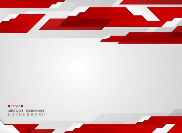Résumé du motif de ligne de bande rouge dégradé futuriste avec fond blanc ombre.