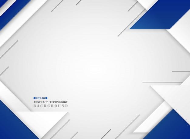 Résumé du motif moderne géométrique futuriste bleu et blanc sur fond blanc dégradé.