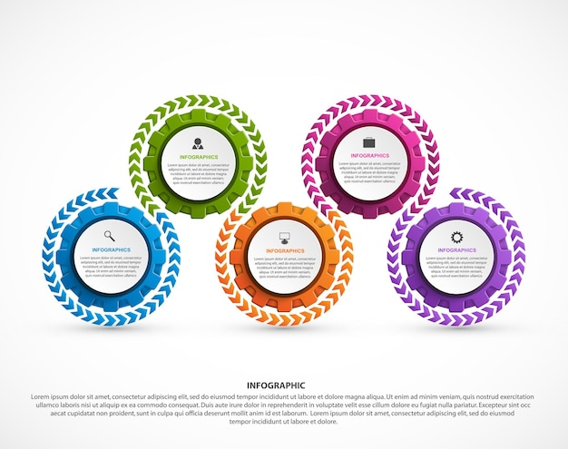 Résumé des engrenages infographique. élément de conception. infographie