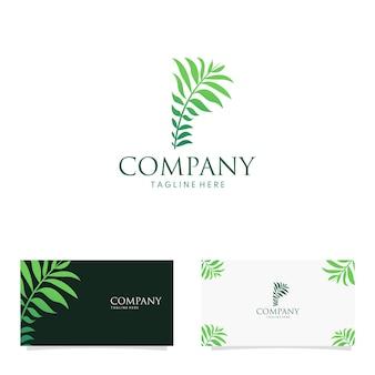 Résumé feuillage brindille lettre p feuille logo design concept