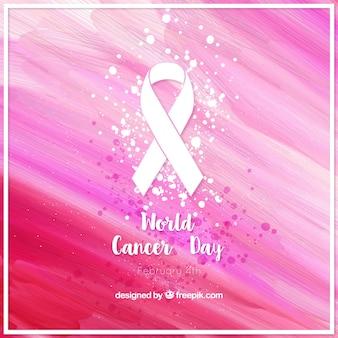 Résumé fond d'aquarelle abstraite de la journée du cancer du monde