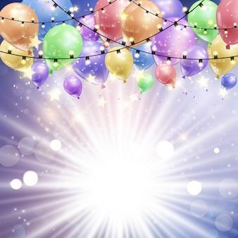 Résumé de fond avec des ballons sur un design starburst