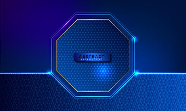 Résumé fond bleu lueur hexagonale