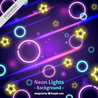 Résumé de fond avec des formes de néon