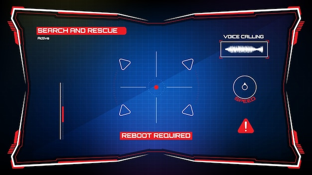 Résumé fond futuriste de la technologie rougeoyante bleu cadre de science-fiction hud ui et cible de commande de robot