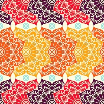 Résumé de fond avec des mandalas dans des couleurs chaudes
