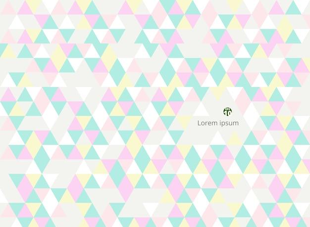 Résumé de fond de modèles doux triangles colorés.