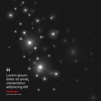 Résumé fond noir polygonale avec points et lignes de connexion. structure de connexion et formation scientifique