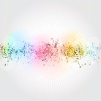Résumé de fond avec des notes colorées de musique