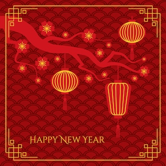 Résumé de fond de nouvel an chinois avec des lanternes chinoises sur une branche d'arbre sur un motif de vagues traditionnelles