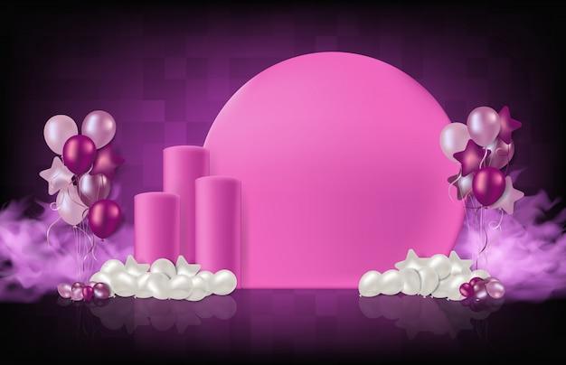 Résumé fond rose stand podium avec des ballons et de la fumée