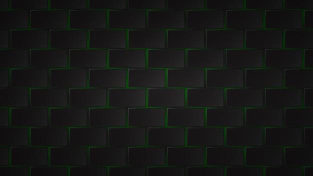 Résumé fond sombre de carreaux rectangle noir avec des espaces verts entre eux