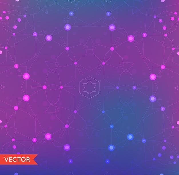 Résumé de fond avec la structure des particules des composés génétiques et chimiques de la molécule. espace et constellations. concept de science et de connexion. réseau social.