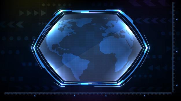 Résumé fond de la technologie étoile hexagonale rougeoyante bleu cadre de science-fiction hud ui