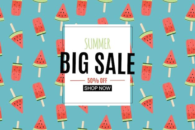Résumé de fond de vente d'été avec crème glacée à la pastèque