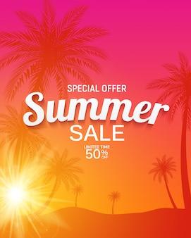 Résumé de fond de vente d'été avec illustration de feuilles de palmier