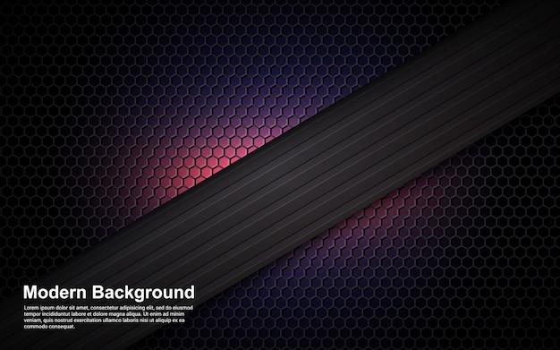 Résumé fond violet dimension sur noir moderne