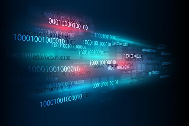 Résumé futuriste de la technologie numérique nombre matrice binaire numérique