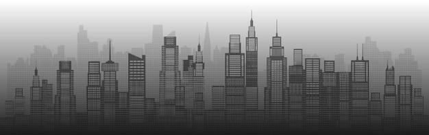 Résumé de gratte-ciel de la ville de l'architecture moderne de la construction de l'art architectural. futurs monuments architecturaux dans le paysage urbain sur fond blanc. capitale vue panoramique. demi-teinte.