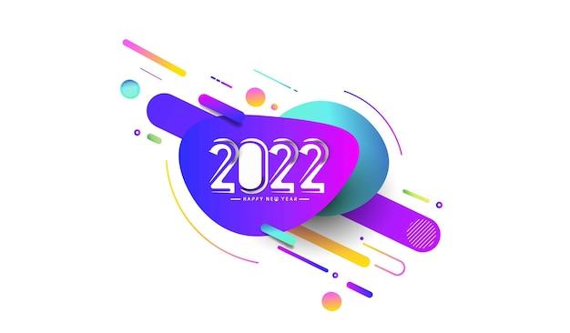 Résumé happy new year 2022 texte bannières de carte de voeux modèle coloré, illustration vectorielle.