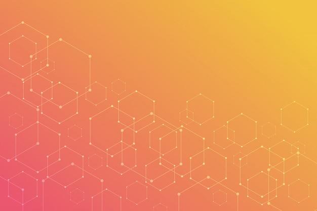 Résumé hexagonal sur fond orange.