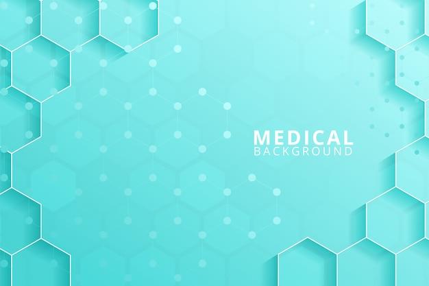 Résumé des hexagones géométriques forment la médecine et la science concept fond
