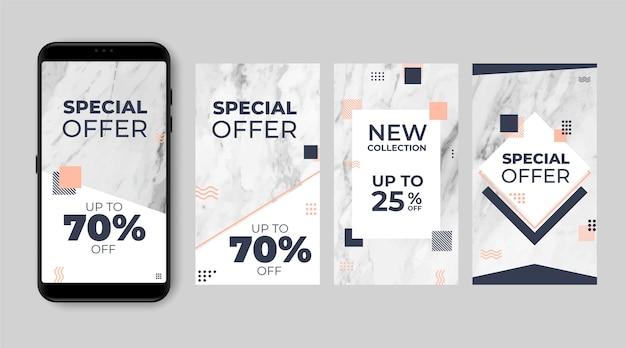 Résumé des histoires instagram de vente dans un style marbre