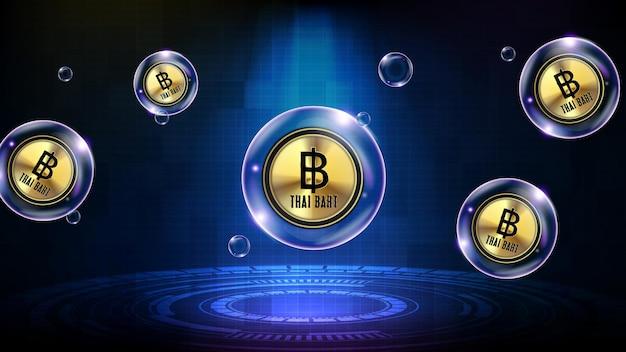Résumé historique de la bulle de technologie futuriste rougeoyante monnaie baht thaïlandaise