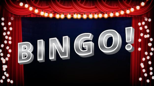 Résumé historique du signe de texte de bingo avec des ampoules et une scène rouge
