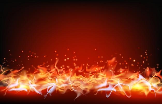 Résumé historique de la flamme de feu sur fond rouge
