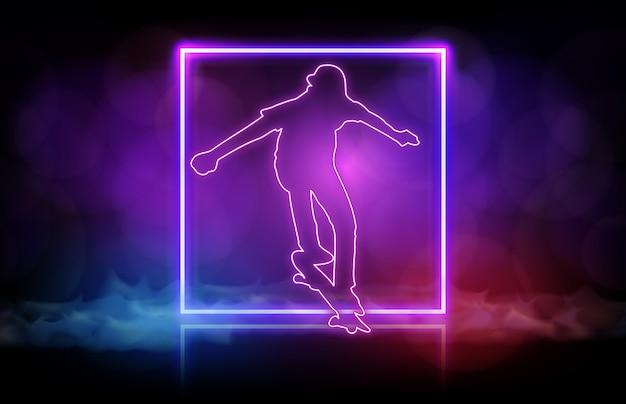 Résumé historique de l'homme jouant à la planche à roulettes avec cadre néon