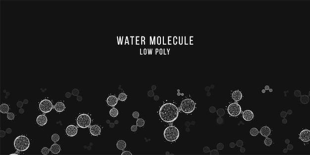 Résumé historique des molécules d'eau. style filaire low poly.