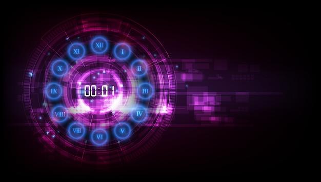 Résumé historique de la technologie futuriste avec concept de minuterie numérique et compte à rebours