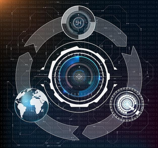 Résumé hud. jeu d'interface utilisateur moderne de science-fiction futuriste.