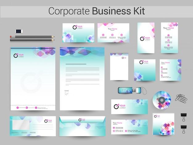 Résumé identité corporative ou business kit.