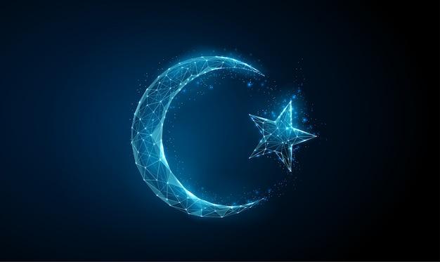 Résumé islamique ramadan symbole croissant et étoile.