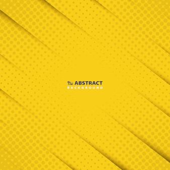 Résumé jaune de papier coupe modèle avec arrière-plan de conception de décoration moderne de demi-teintes.