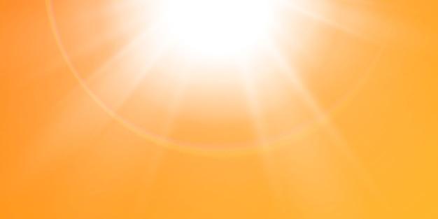 Résumé lentille étincelante flare avec soleil scintillant sur fond jaune et orange. un soleil chaud qui est rempli de rayons naturels de lumière éblouissante. illustration isolée.