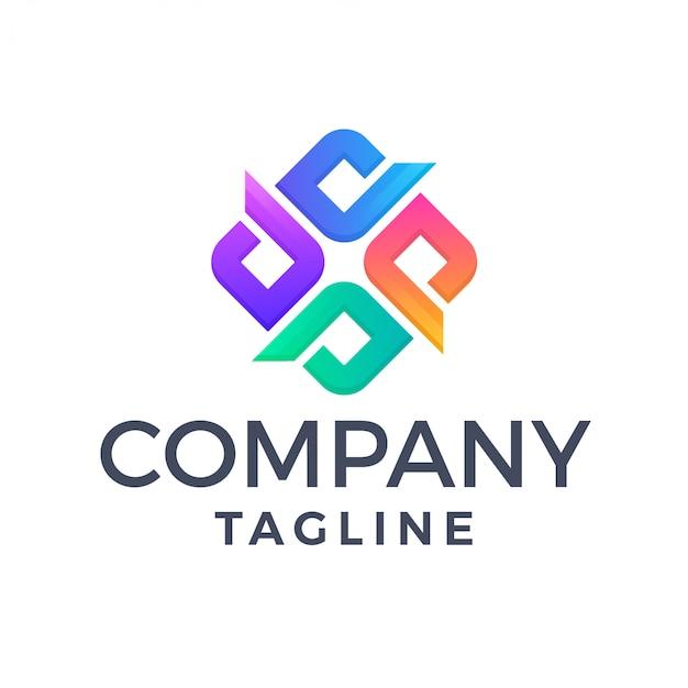Résumé lettre carrée moderne x logo multicolore
