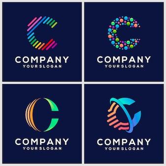 Résumé, lettre c, logo, conception, icône, ensemble