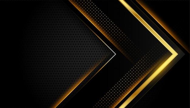 Résumé des lignes dorées brillantes noir foncé et or