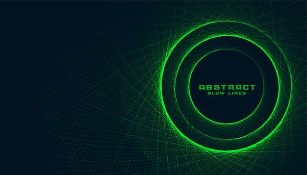 Résumé des lignes vertes faisant un fond de cadre circulaire