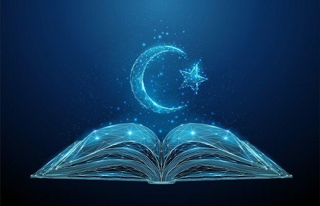 Résumé livre ouvert korah avec croissant de symbole islamique et étoile