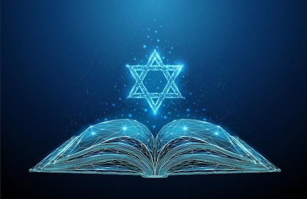 Résumé livre ouvert de la torah avec l'étoile de david