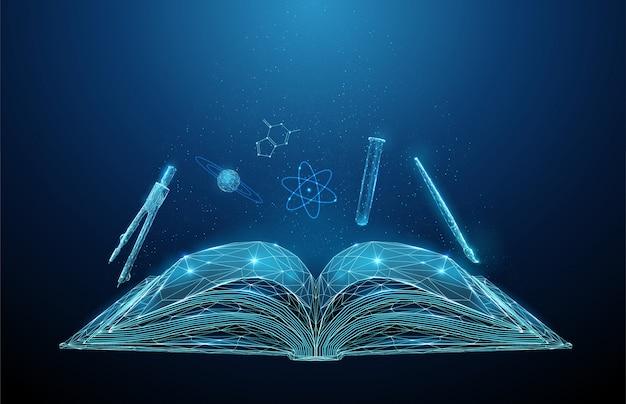 Résumé livre scolaire ouvert avec des icônes de matières scolaires