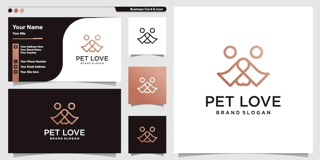 Résumé de logo d'amour pour animaux de compagnie avec le concept de ligne d'amour vecteur premium