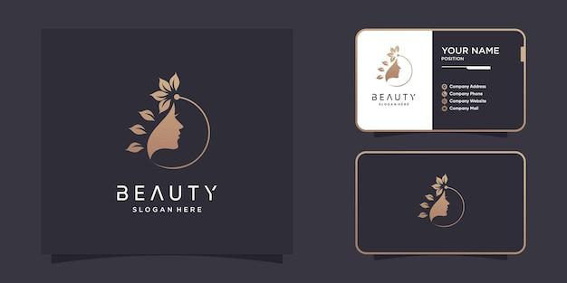 Résumé de logo de beauté pour femme vecteur premium