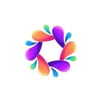 Résumé de logo eau couleur moderne